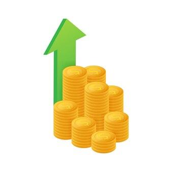 Guadagna denaro o budget. contanti e freccia in aumento del grafico su, concetto di successo di affari.