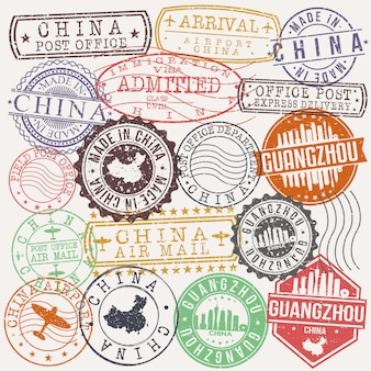 Guangzhou cina set di viaggi e business stamp designs