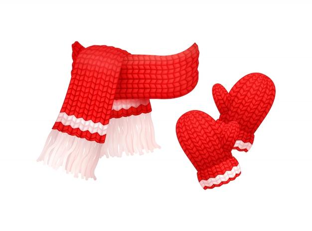 Guanti in lana e sciarpa lavorata a maglia con filo bianco