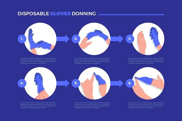 Guanti monouso che indossano infografica