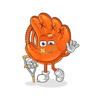 Guanto da baseball malato con illustrazione di bastone zoppicante