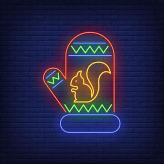 Guanto lavorato a maglia con scoiattolo in stile neon