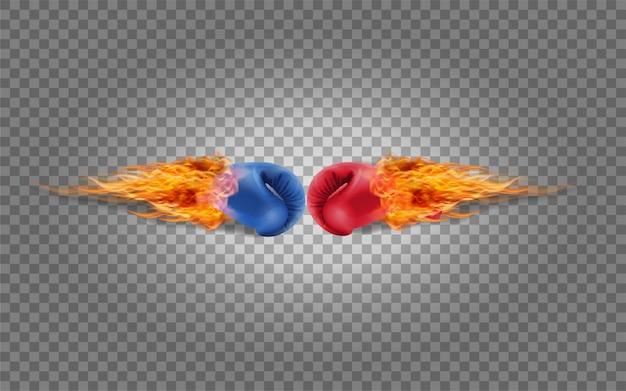 Guantoni da boxe rosso e blu nel fuoco che colpiscono insieme