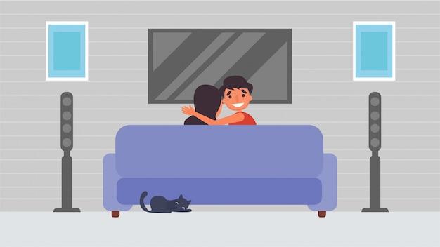 Guarda la tv ascolta la musica amante hobby attività che le coppie trascorrono insieme, tempo con i propri cari felicità nessun posto come il concetto di casa, illustrazione colorata in stile cartone animato piatto