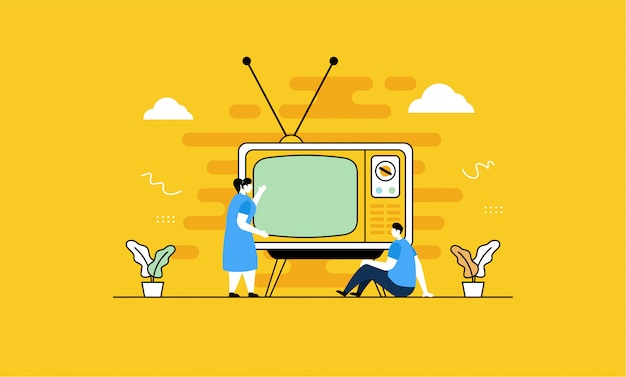 Guardare la tv retrò in stile piatto
