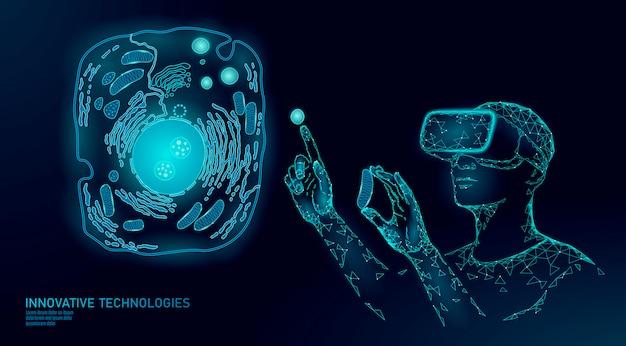 Guarigione cellulare con realtà virtuale della medicina moderna. sintesi 3d di cellule artificiali biochimica cellulare di designer animali umani.
