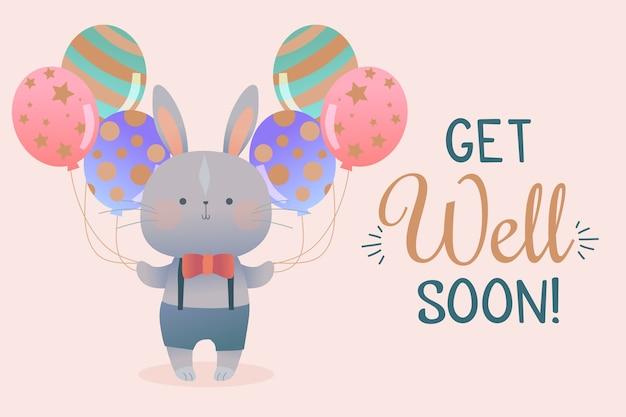 Guarisci presto citazione e coniglio con palloncini