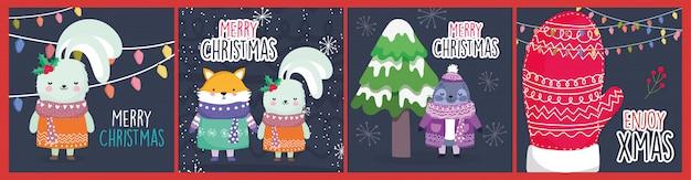 Guarnizione di volpe sveglia del coniglio di celebrazione di buon natale con l'insieme di carta della neve del guanto dell'albero del maglione