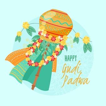 Gudi padwa disegnato a mano con fiori