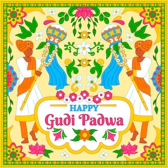 Gudi padwa disegnato a mano