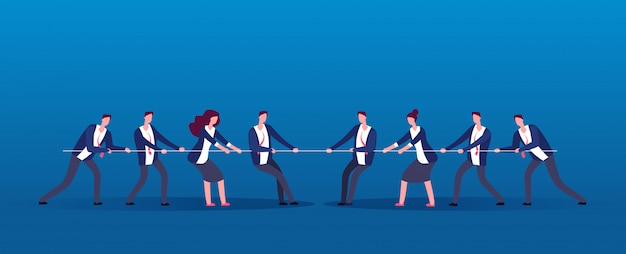 Guerra di squadra. uomini d'affari rivali tirando la corda. concorrenza, conflitto nel concetto di vettore di ufficio