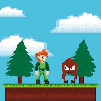 Guerrieri di videogiochi in scena pixelata