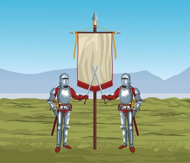 Guerrieri medievali in guerra