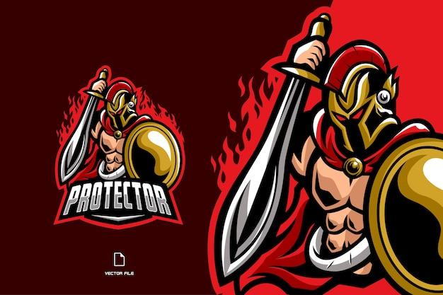 Guerriero con elmo, spada, elmo e logo mascotte scudo per logo esport del gioco