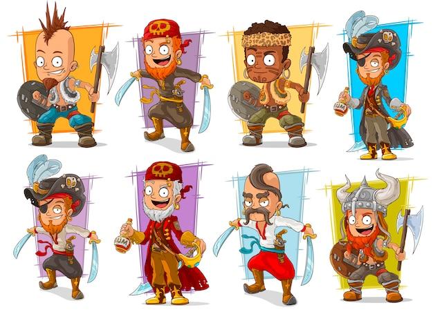 Guerriero del fumetto con set di caratteri di spada e ascia