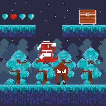Guerriero del videogioco che salta nella scena pixelata
