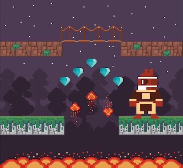 Guerriero del videogioco con diamanti in scena pixelata