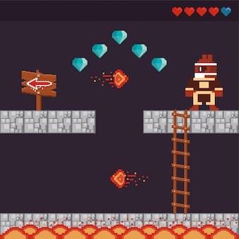 Guerriero del videogioco in scena pixelata