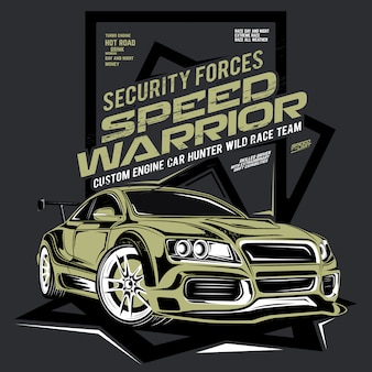 Guerriero di velocità, illustrazione dell'automobile super veloce
