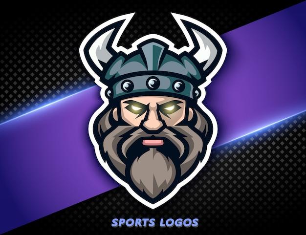Guerriero vichingo logo professionale. mascotte sportiva, etichetta e-sports.