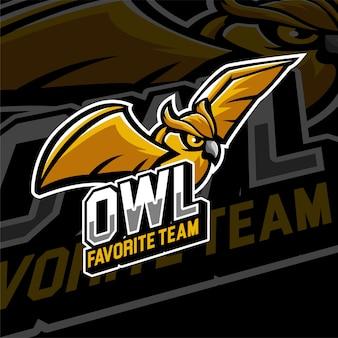 Gufi del distintivo del logo di gioco di esports