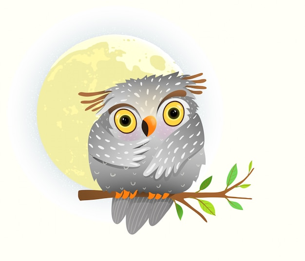 Gufo animale del bambino che guarda alla notte che si siede sul ramo di albero con le stelle nel cielo e nella luna piena. clipart carino per i bambini.