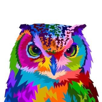 Gufo colorato con stile pop art