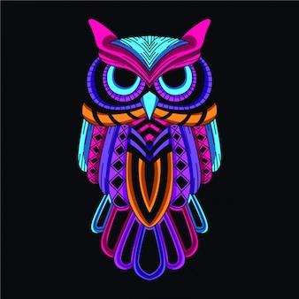 Gufo decorativo in bagliore di colore neon