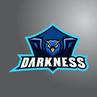 Gufo delle tenebre con logo e-sport wordmark