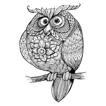 Gufo di doodle ornato di seduta disegnata a mano.
