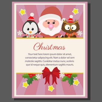 Gufo di pinguino di babbo natale piatto poster di tema di natale felice