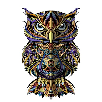 Gufo disegnato in stile zentangle