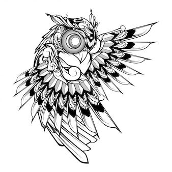 Gufo doodle ornamento illustrazione, tatuaggio e design tshirt