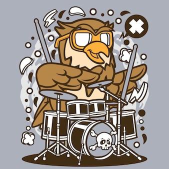Gufo Drummer Cartoon