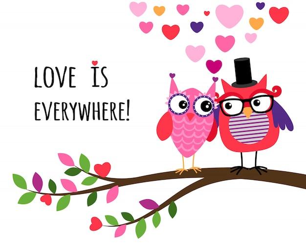 Gufo felice giorno di san valentino