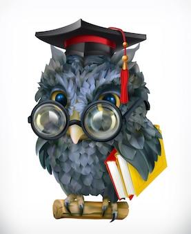 Gufo saggio. personaggio dei cartoni animati, mascotte. concetto di scuola, oggetto vettoriale