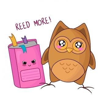 Gufo simpatico cartone animato kawaii con quaderno rosa, ritorno a scuola