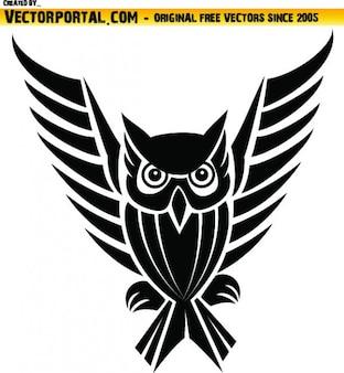 Gufo tribale con lunghe ali