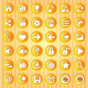 Gui button cerchio arancione con bordo dorato