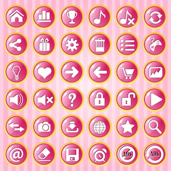 Gui button cerchio rosa con bordo dorato