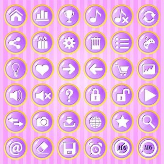 Gui button cerchio viola con bordo dorato