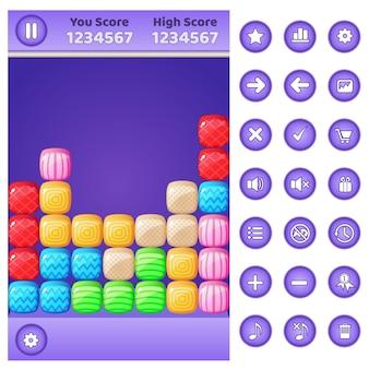 Gui game match 3 blocchi puzzle e pulsanti impostati