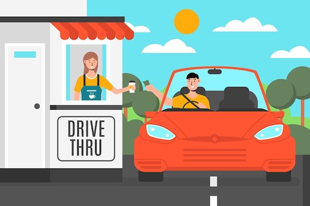 Guida attraverso il finestrino con l'auto