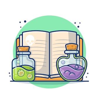 Guida del libro con pozione con illustrazione dell'occhio. veleno concetto di halloween. stile cartone animato piatto