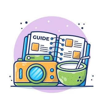 Guida del libro di viaggio con fotocamera e illustrazione di cocco. linea guida del concetto di turismo. stile cartone animato piatto.