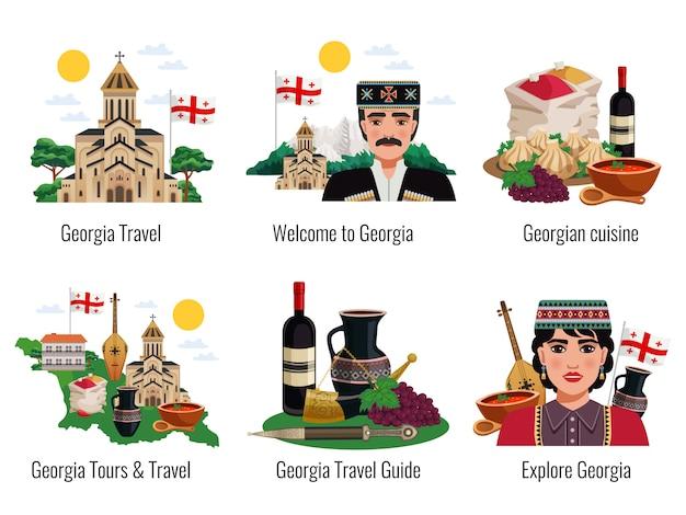 Guida di viaggio di 6 turisti in cucina georgiana simboli cucina tradizioni punti di riferimento turistico 6 composizioni piane messe isolate