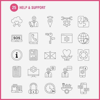 Guida e icona linea di supporto