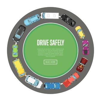 Guida in sicurezza banner in stile piatto
