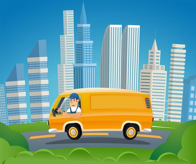 Guida sorridente dell'idraulico in camion di lavoro giallo