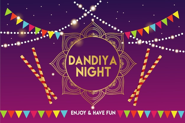 Gujarati dandiya night poster or banner template
